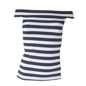 NWT Bebe Black White Striped Off Shoulder Top